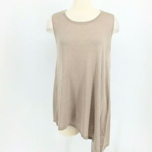 ❤️ DG2 Diane Gilman Top Small Khaki Beige Cotton